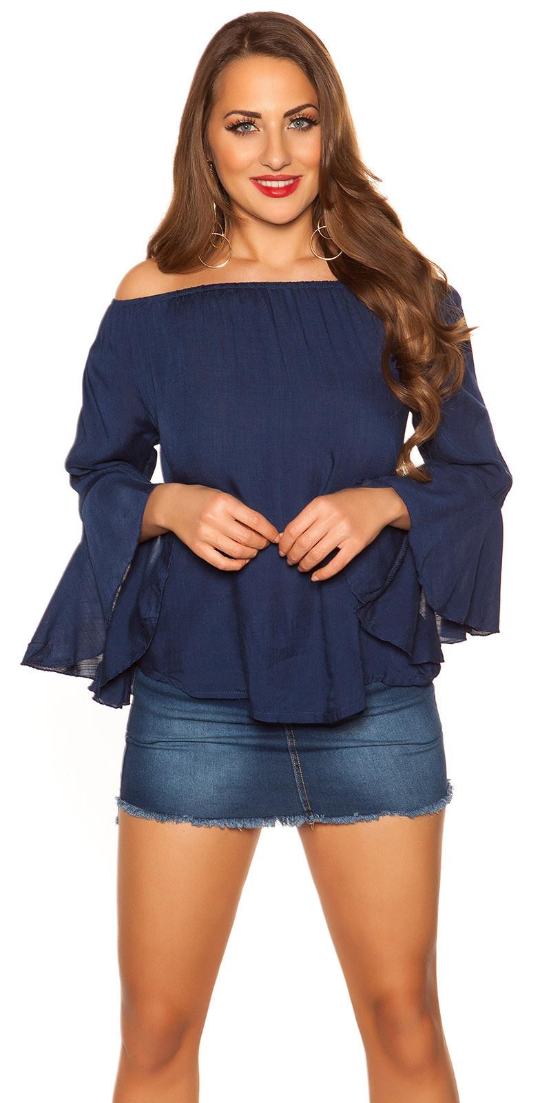 Sexy off shoulder shirt met volant marineblauw