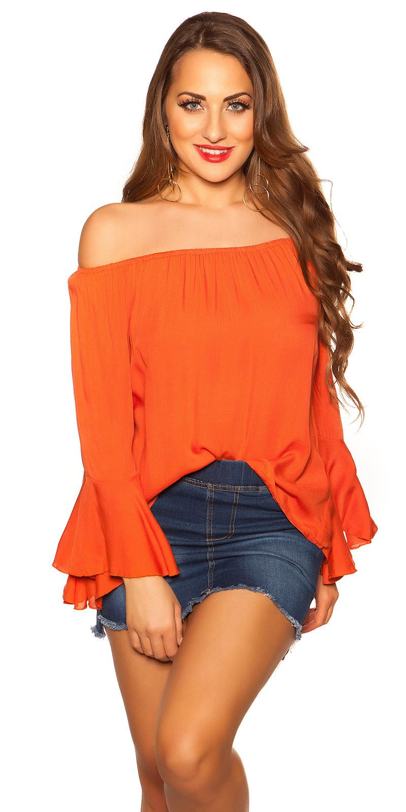 Sexy off shoulder shirt met volant oranje