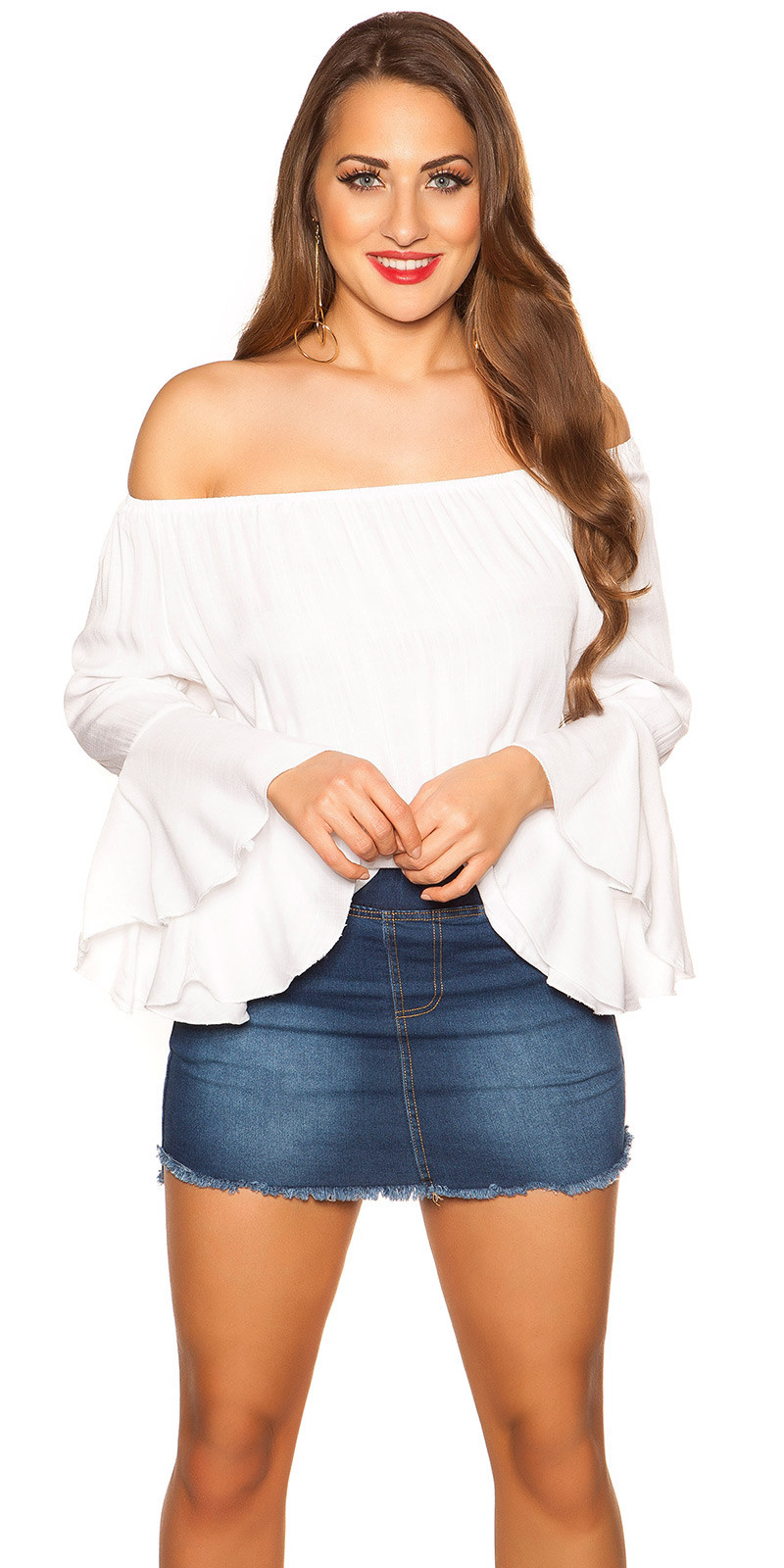 Sexy off shoulder shirt met volant wit