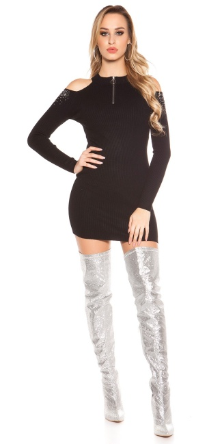 Sexy Cold Shoulder Ripp knit dress with studs Black