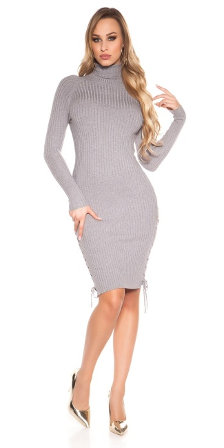 Sexy turtleneck ripp knit dress with lacing Grey