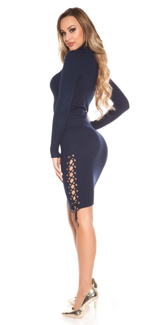 Sexy turtleneck ripp knit dress with lacing Navy