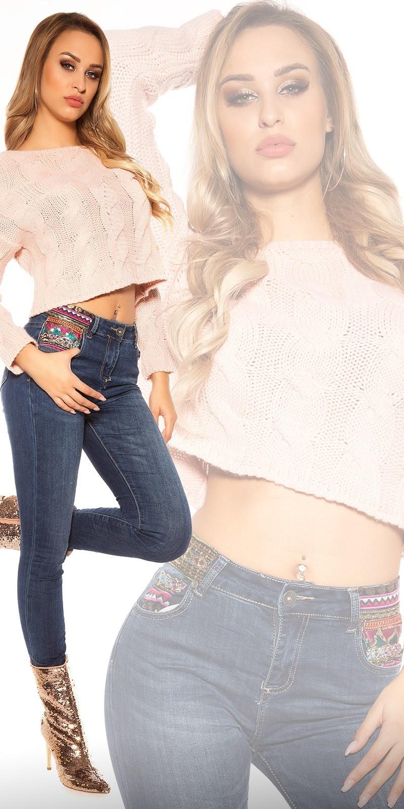 Trendy skinny jeans met pailletten en borduurwerk jeansblauw