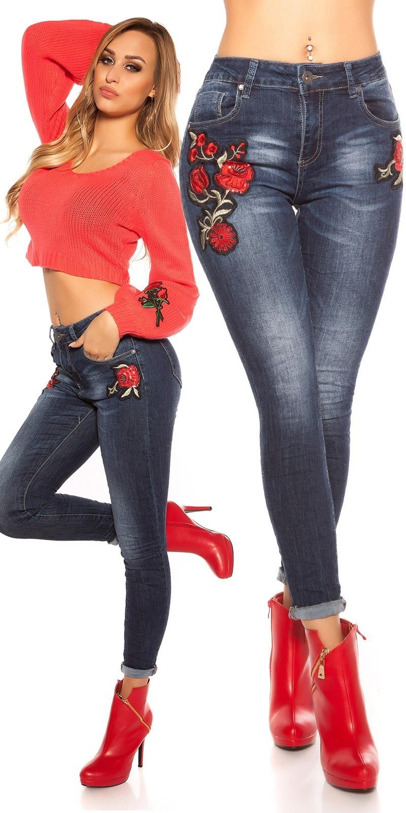 Sexy skinny jeans met bloemen borduurwerk jeansblauw