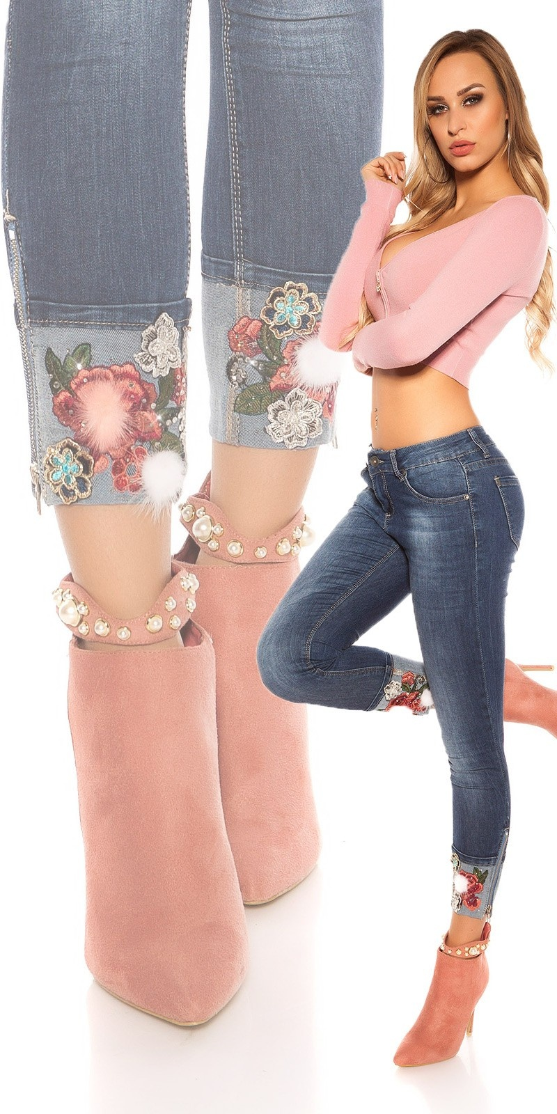 Sexy skinny Jeans wtih flower embroidery Jeansblue