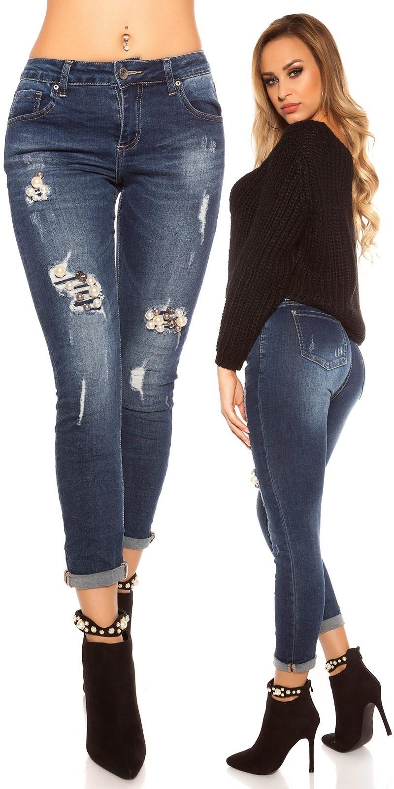 Sexy skinny jeans gebruikte used look met parels jeansblauw