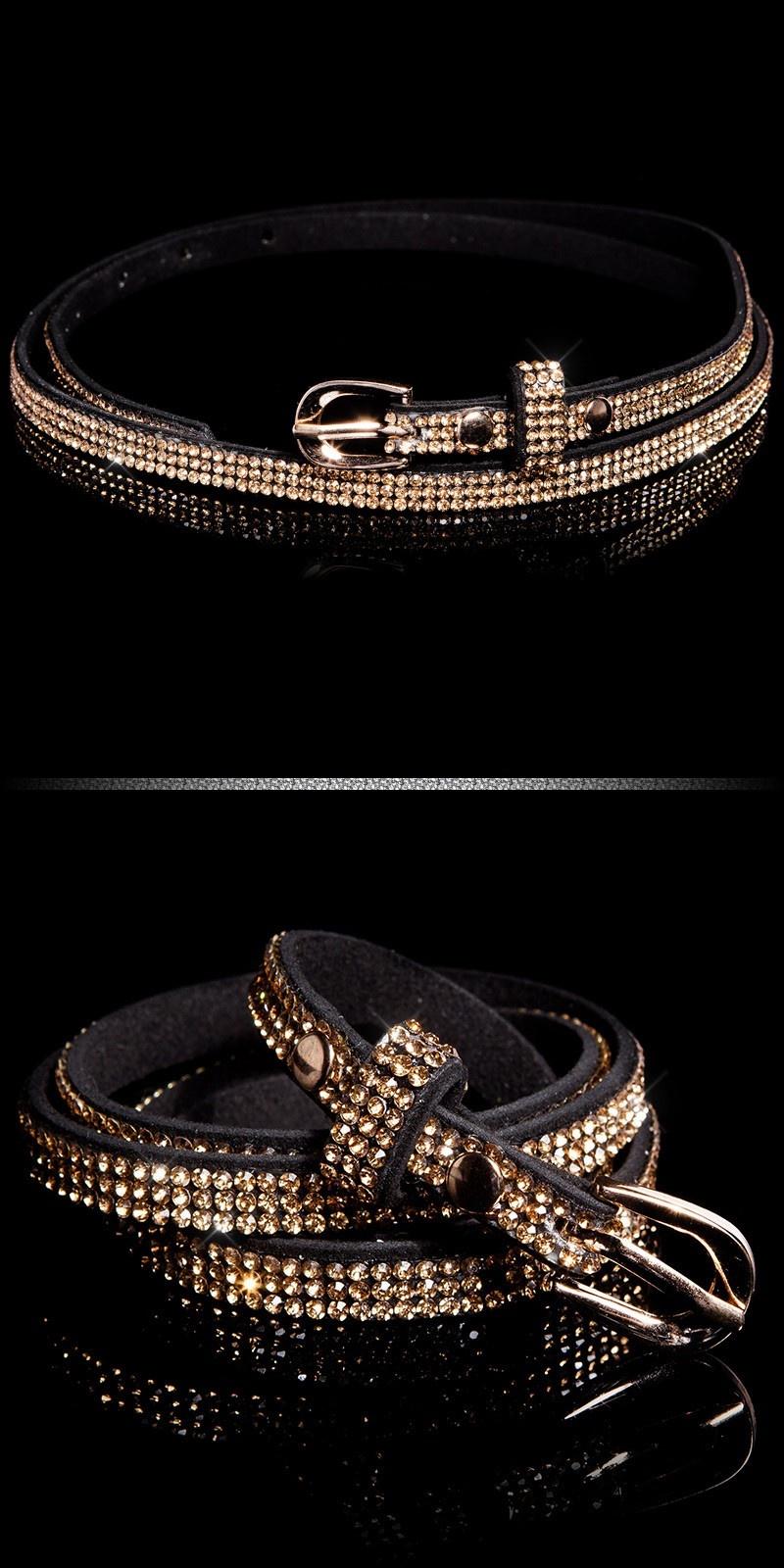 Trendy belt with rhinestones Blackgold