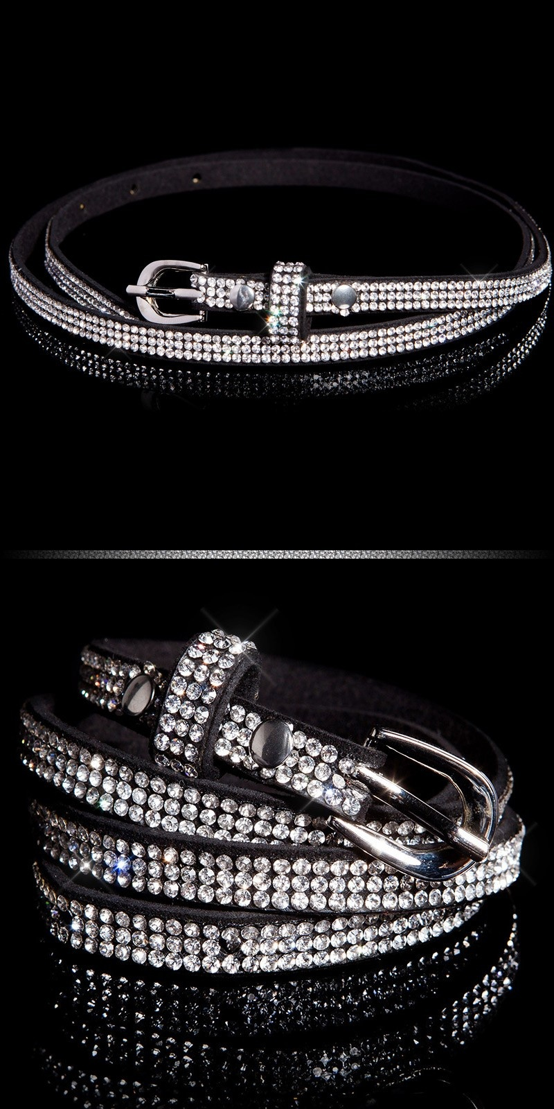 Trendy belt with rhinestones Blacksilver