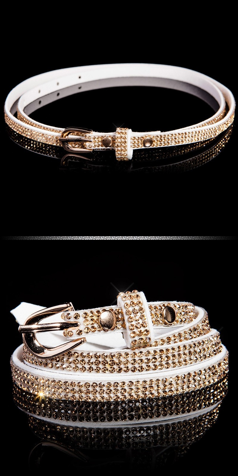 Trendy belt with rhinestones Whitegold