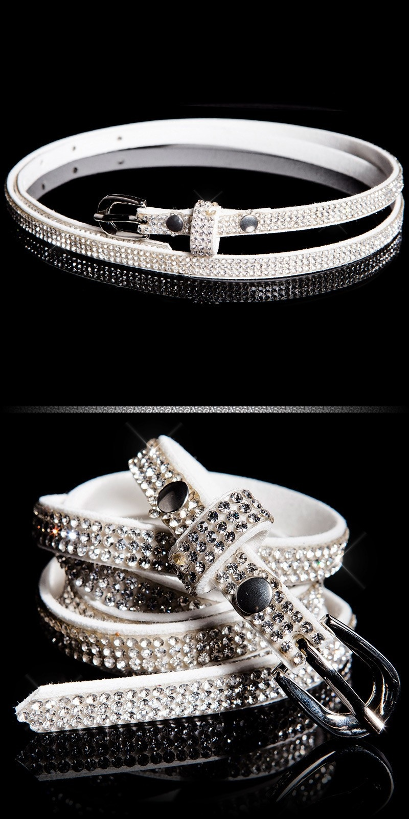 Trendy belt with rhinestones Whitesilver