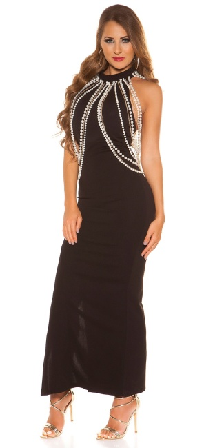Sexy neckholderdress with chains and leg slit Black