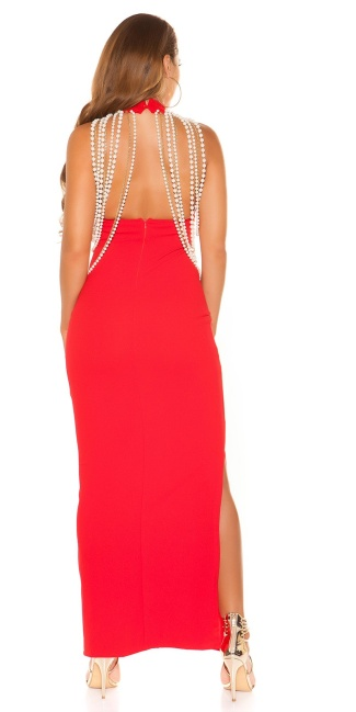 Sexy neckholderdress with chains and leg slit Red