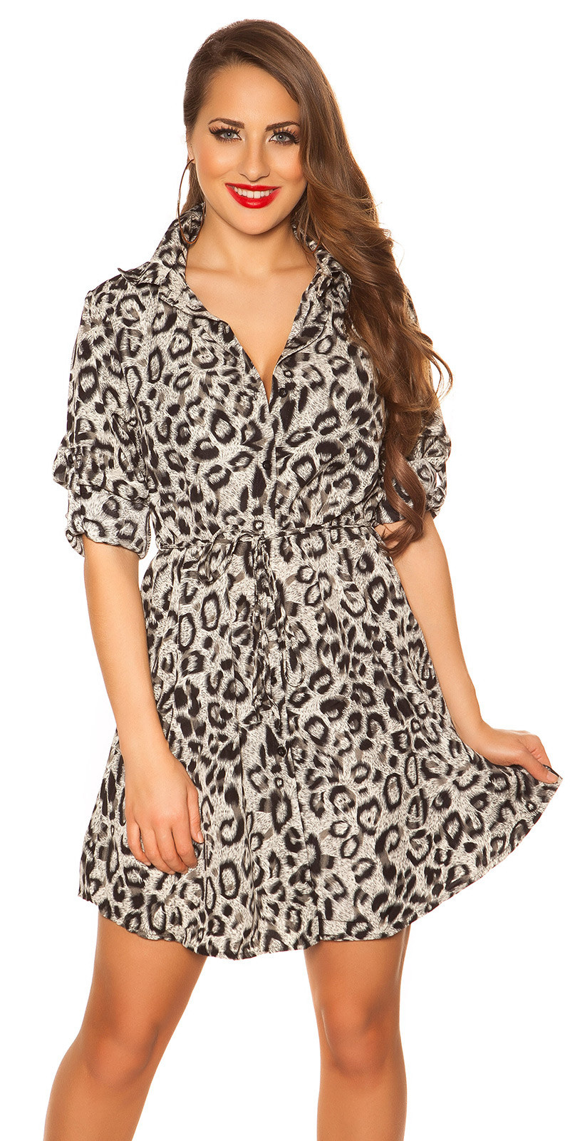 Sexy blouse mini jurkje met riem luipaard print grijs