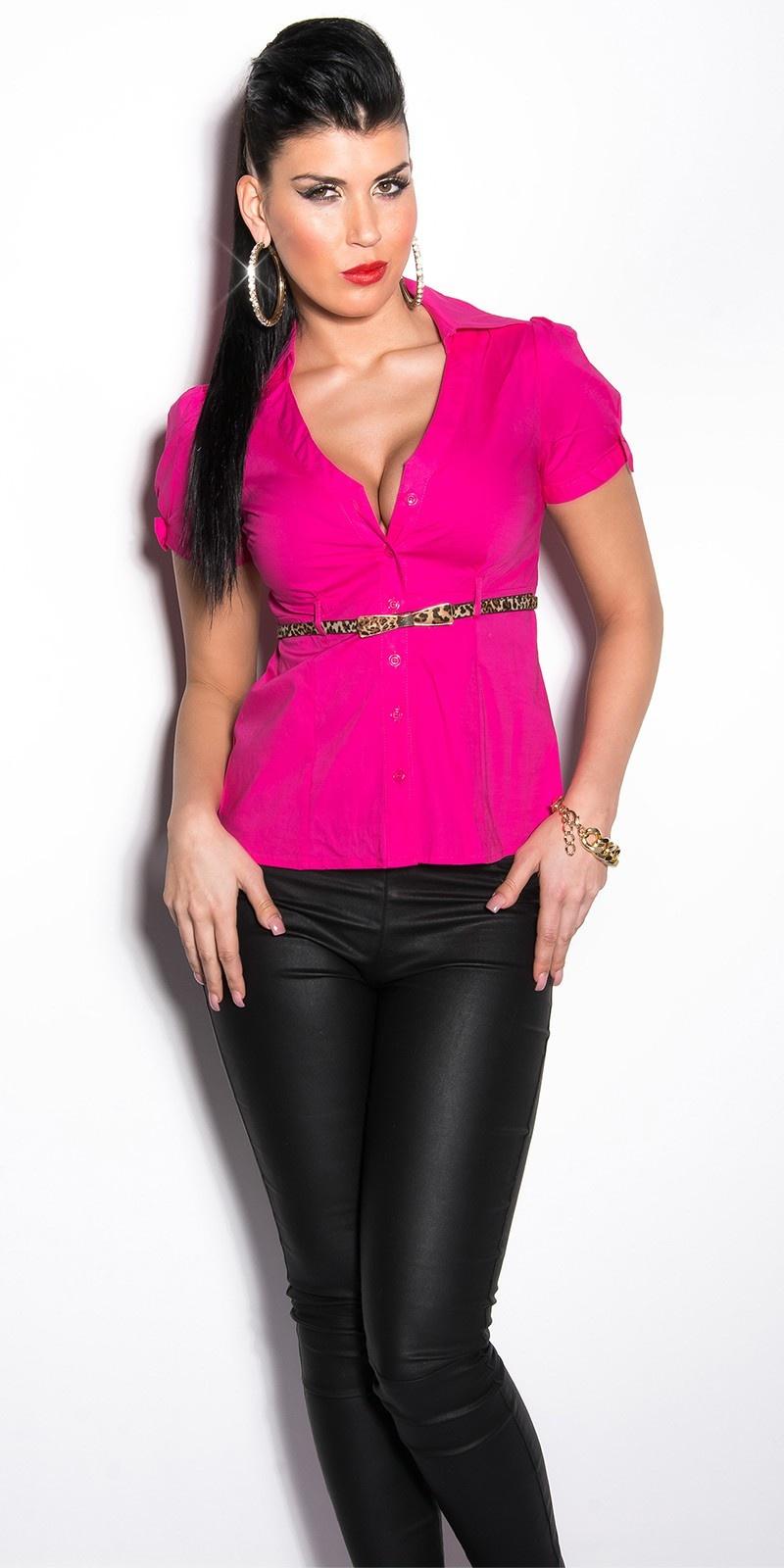 Sexy blouse met korte mouwen en luipaard riem fuchsiaroze