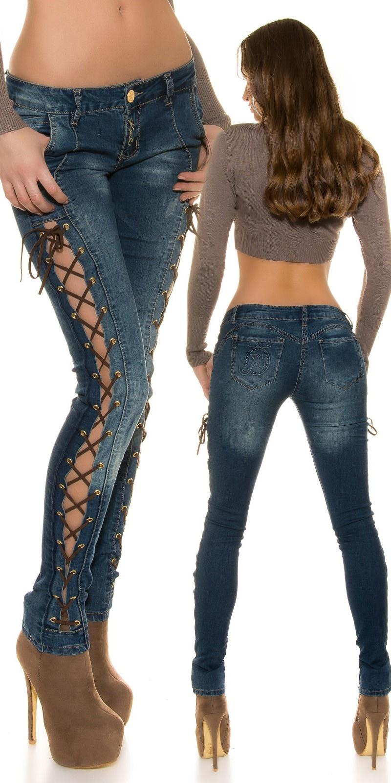 Jeans met sexy veters Blauw