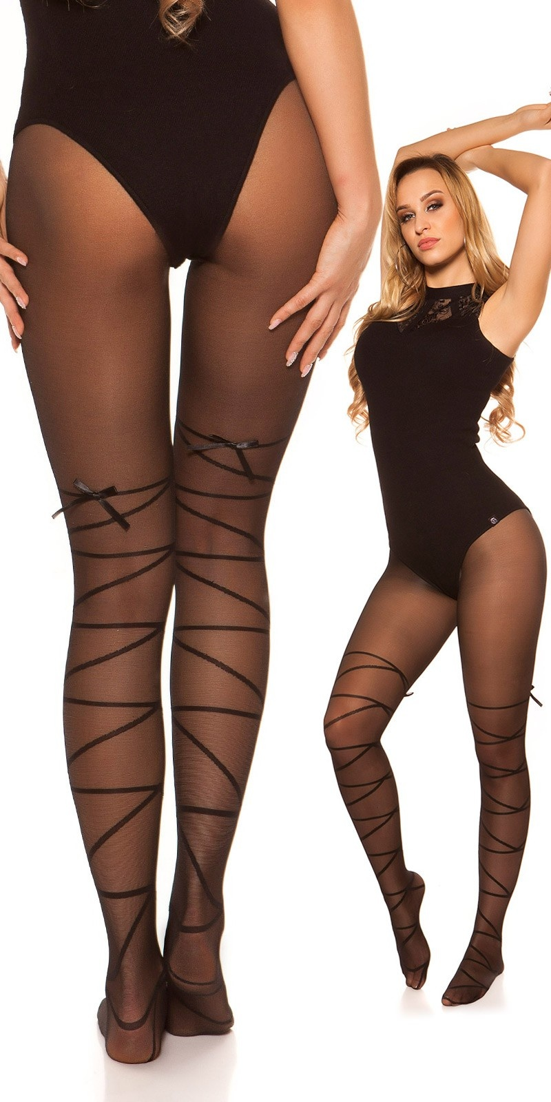 Sexy tights with bondage optics Black