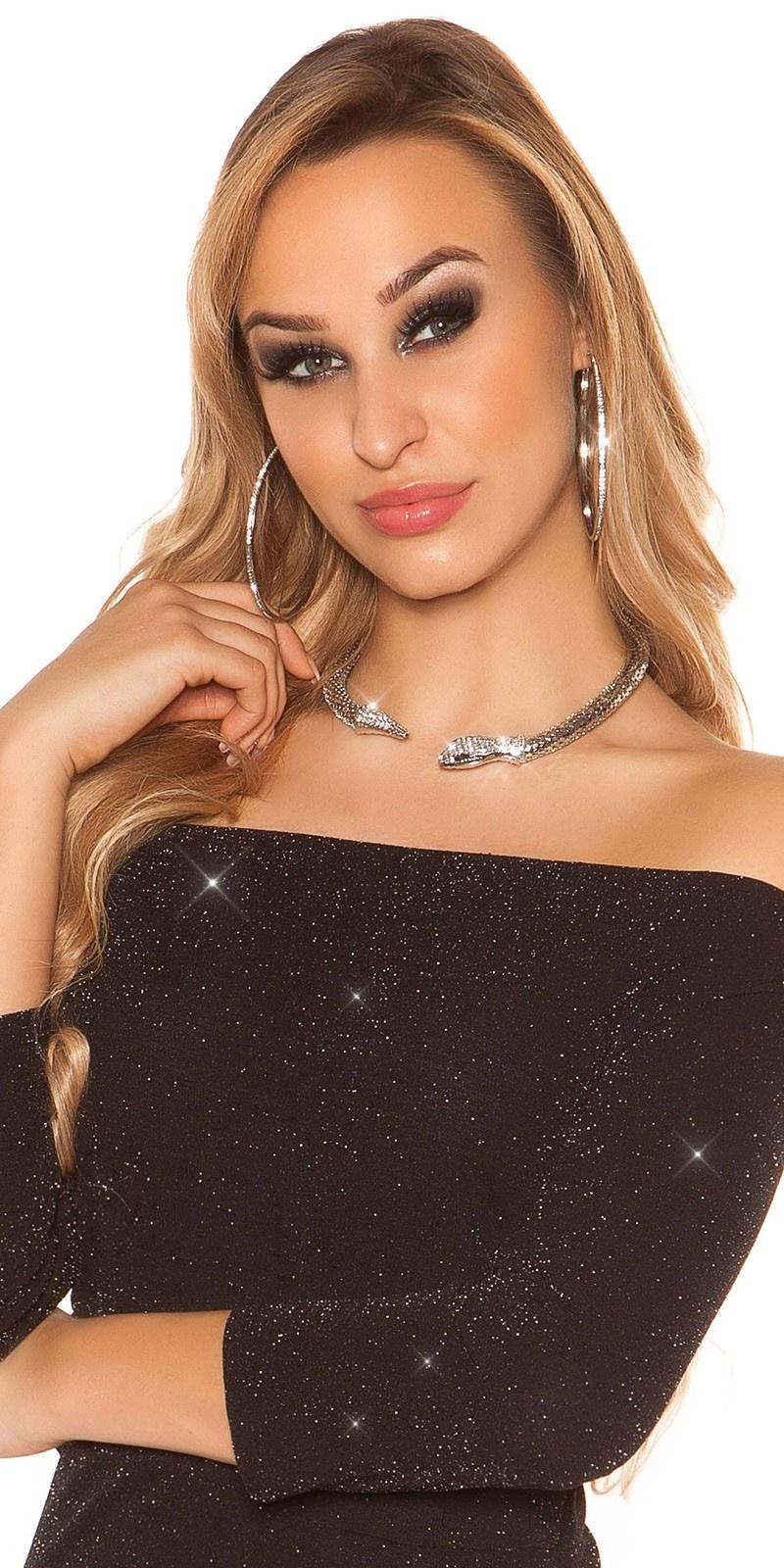 Sexy slangen-halsketting met strass steentjes zilver