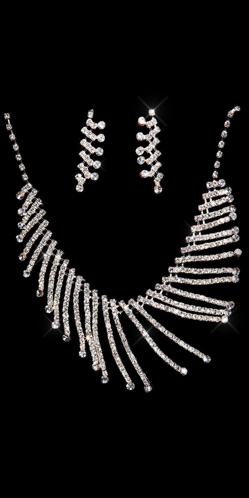 Elegante strass steentjes-collier-set zilver