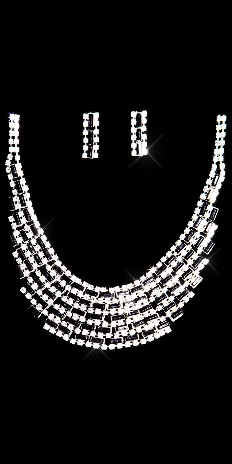 Sexy set of rhinestone necklace + earrings Blacksilver