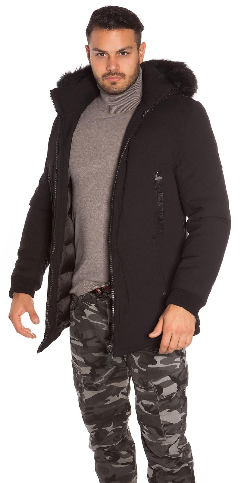 Trendy heren winterjas met nep bont zwart