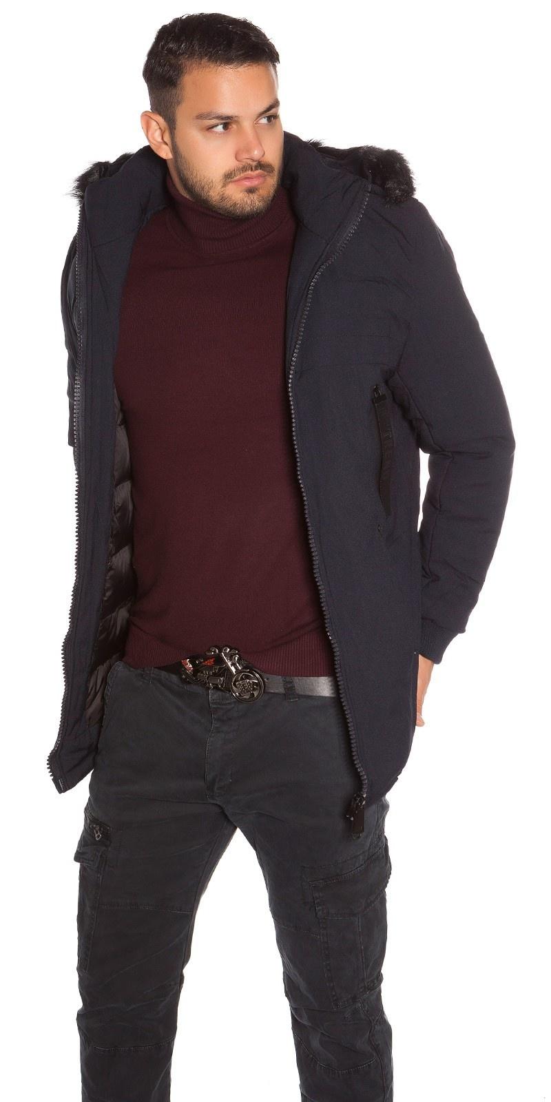 Trendy heren winterjas met nep bont marineblauw