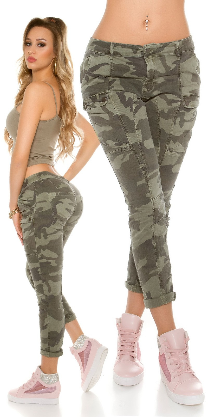 Trendy Camouflage Skinny Jeans Army