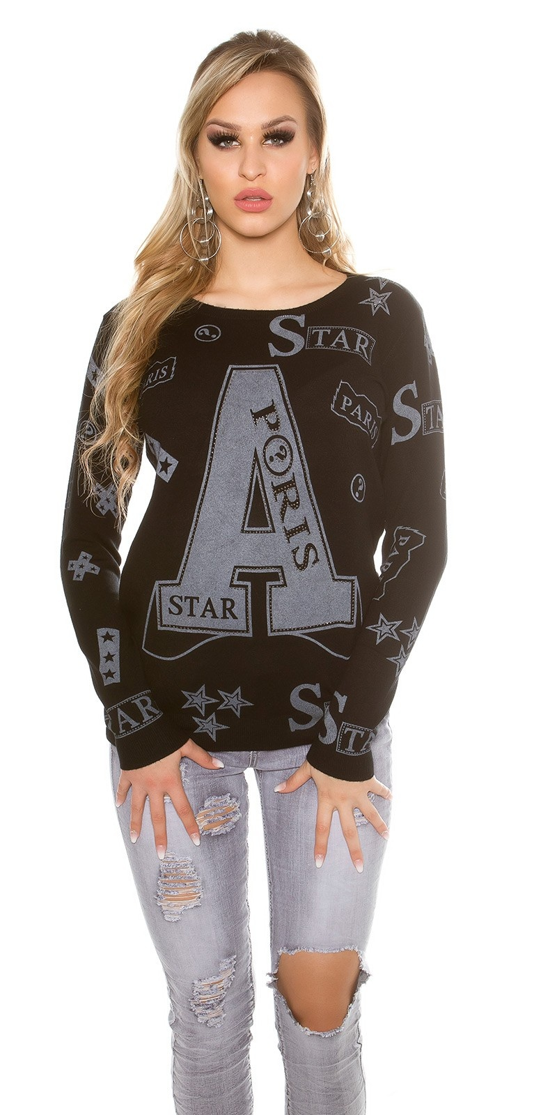 Trendy sweater with print and rivets Black