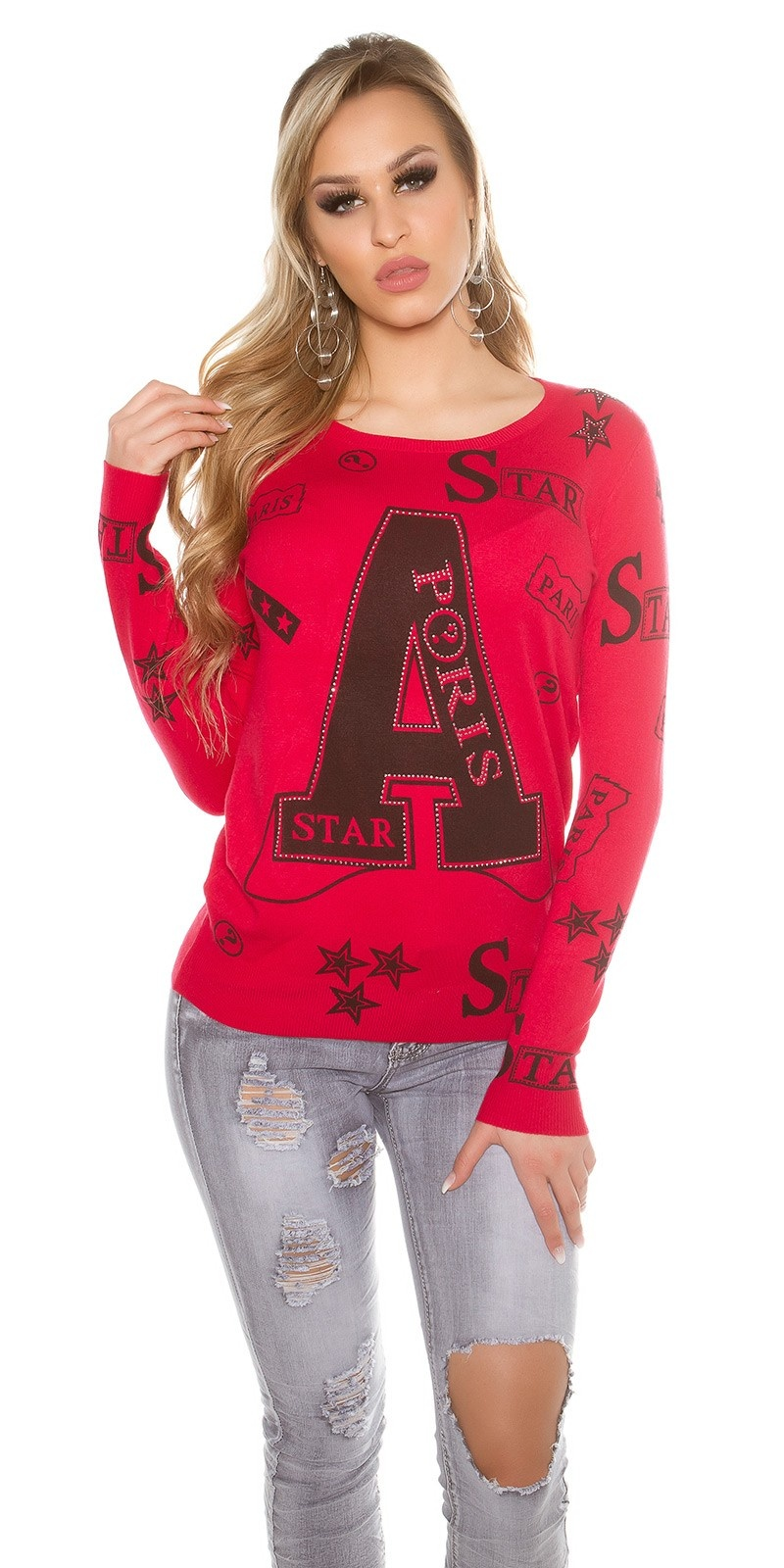 Trendy sweater with print and rivets Red