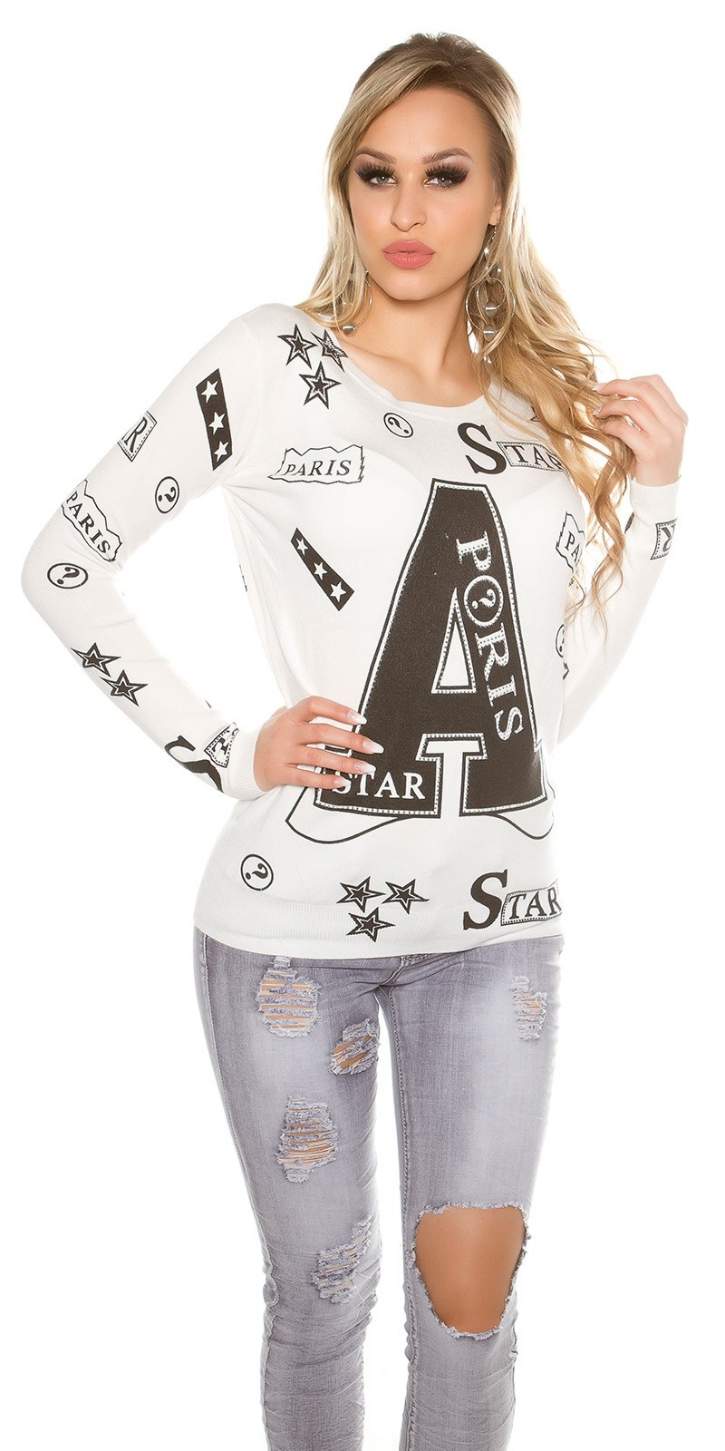 Trendy sweater with print and rivets White