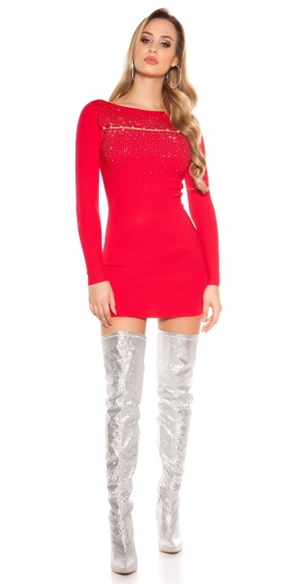 Sexy knit dress with pearls and studs Red