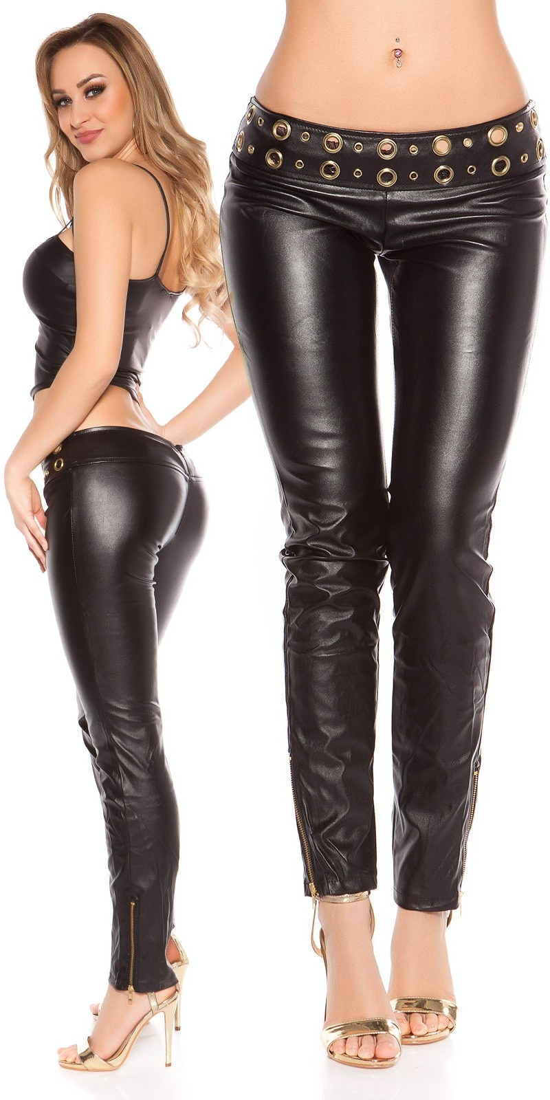 Sexy lowcut-Skinny-Pants in leatherlook with studs Black