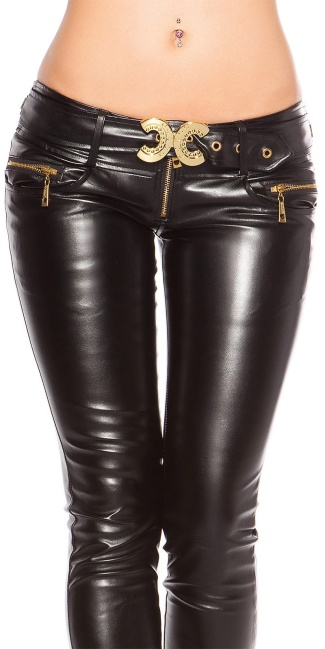 Sexy Skinnies in Leatherlook with sewed on belt Black