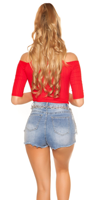 Sexy Cold Shoulder Shirt Red
