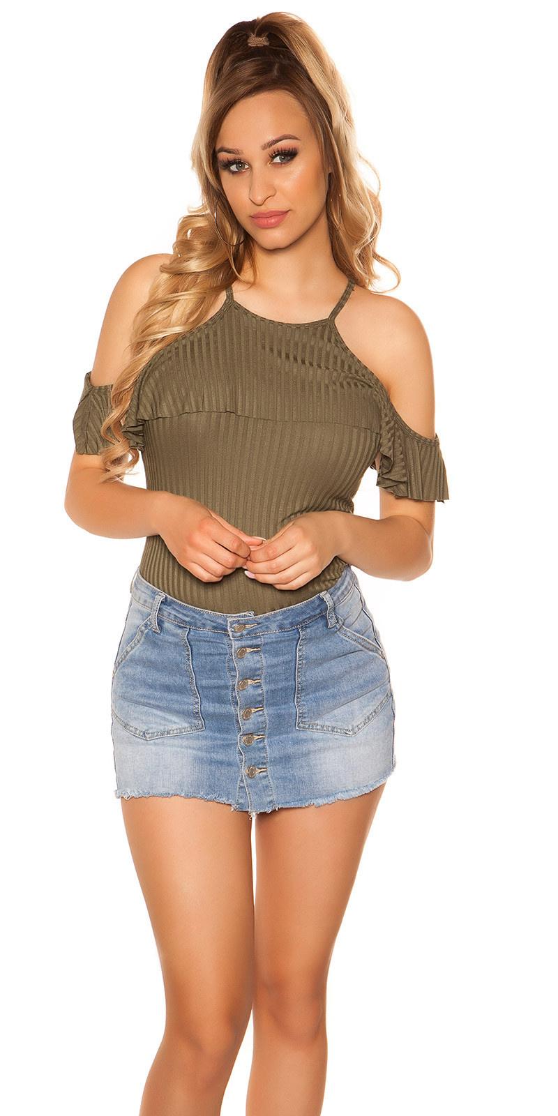 Sexy blote schouder geribbelde top khaki