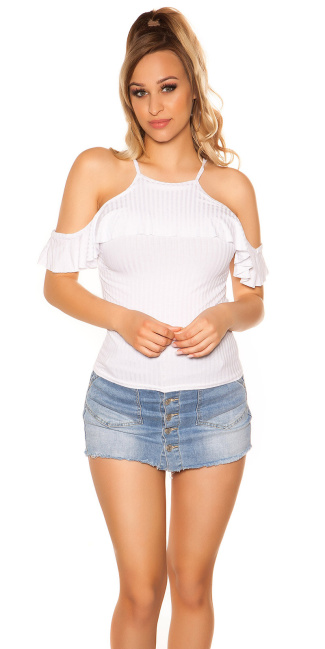Sexy coldshoulder ribbed top White