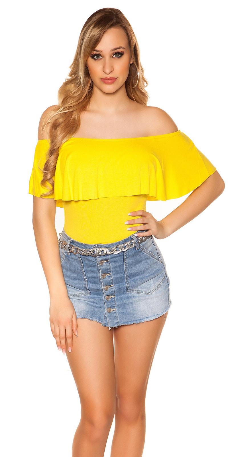 Sexy basic off shoulder shirt geel