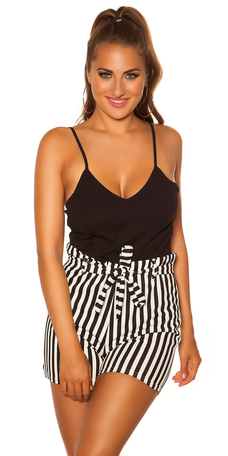 Sexy Playsuit with stripes & belt, padded Black