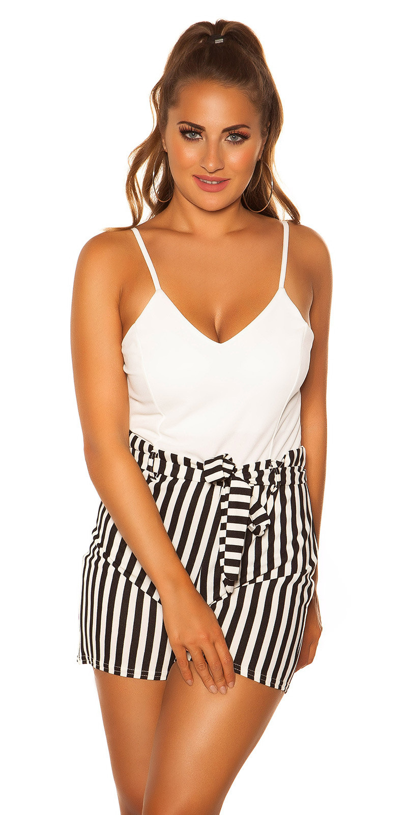 Sexy Playsuit with stripes & belt, padded White