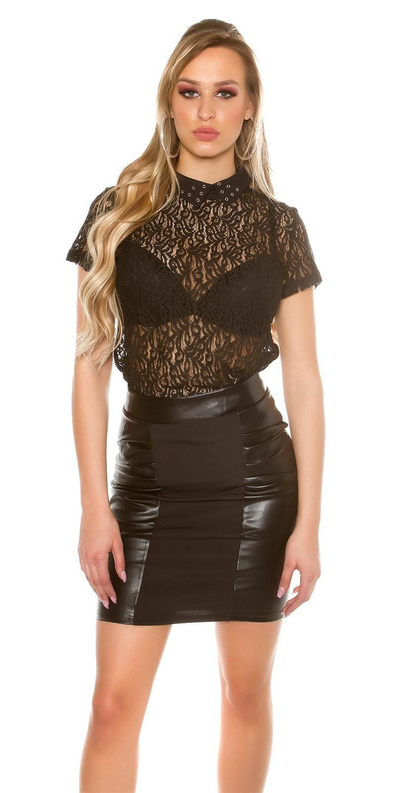 Sexy shirt van kant zwart