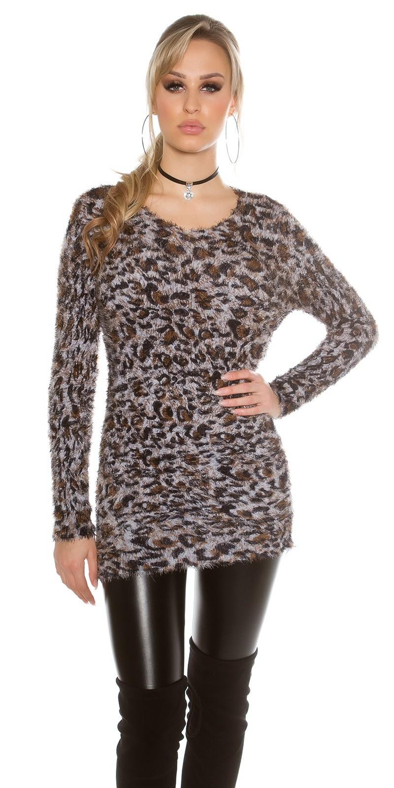 Trendy fluffy trui luipaard-look Grijs
