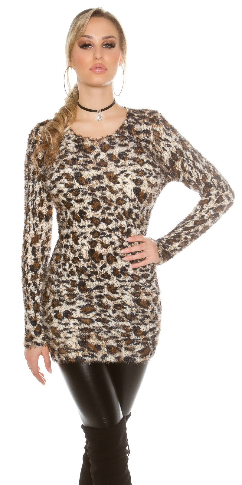 Trendy fluffy trui luipaard-look Wit