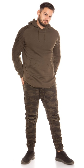 Trendy Men s Long Hoodie with pocket Khaki