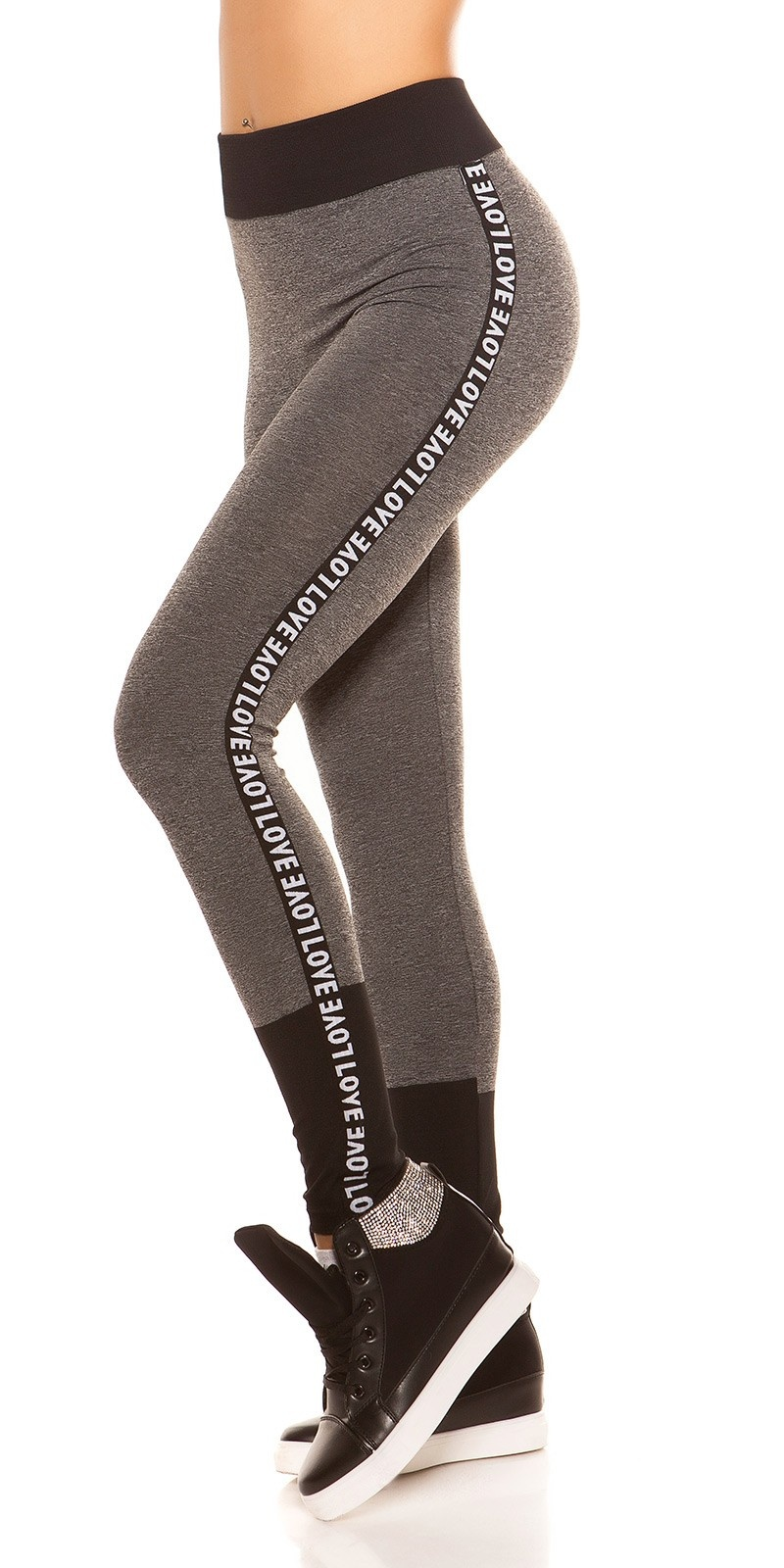 Trendy workout-sport leggings love grijs