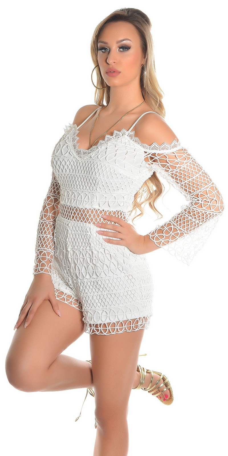 Sexy Lace Long Sleeve Playsuits IBIZA Look White