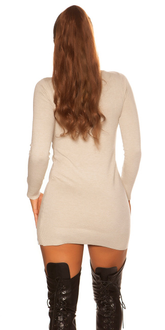 Sexy fine knit mini dress with floral embroidery Beige