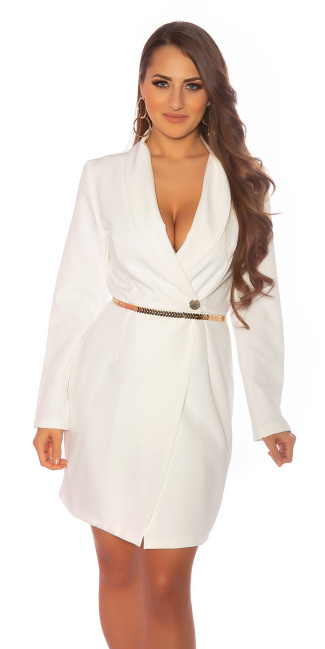 Sexy wrap look longsleeve dress with chain belt White