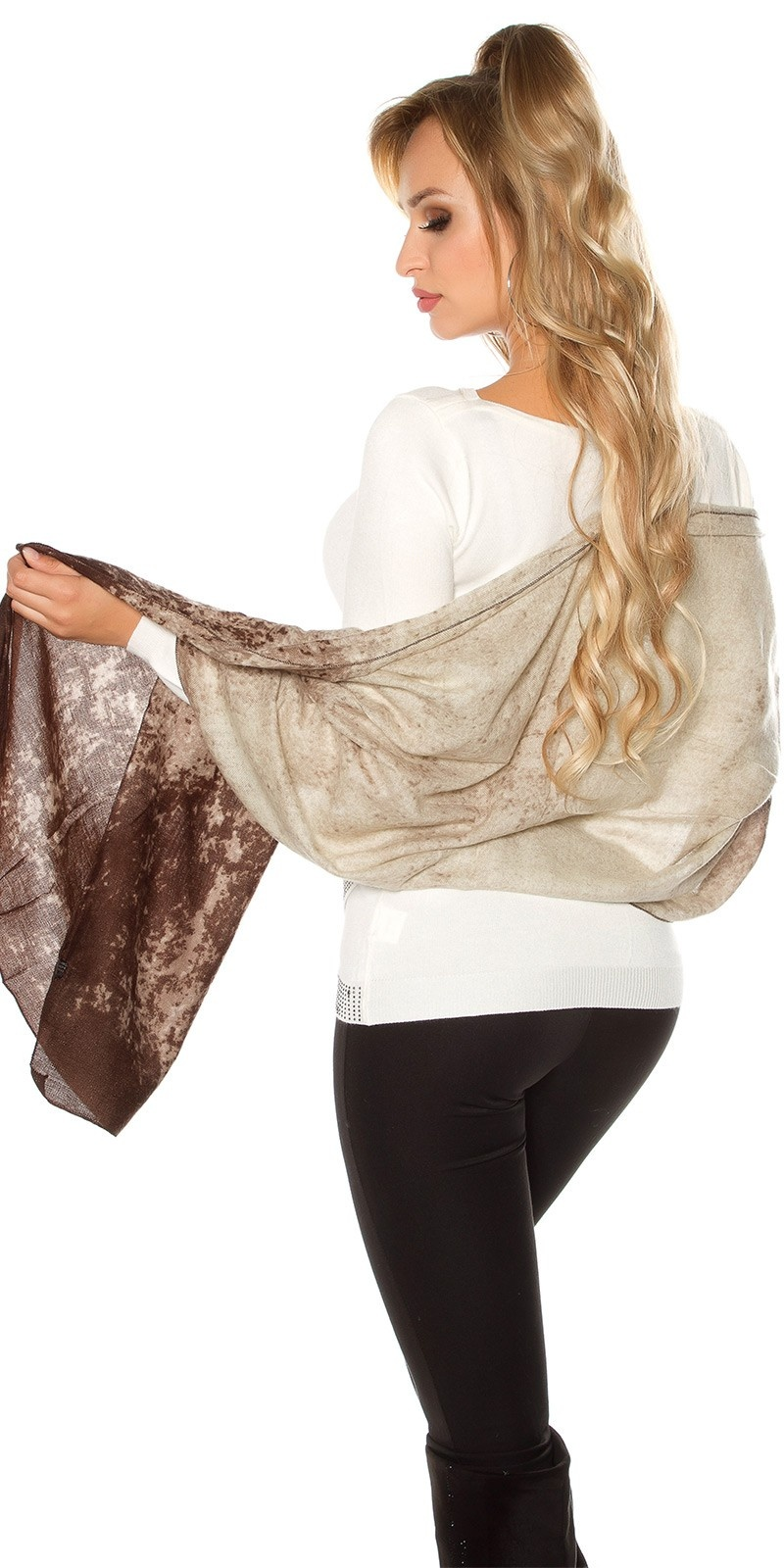 Trendy XL scarf - neck cloth Brown