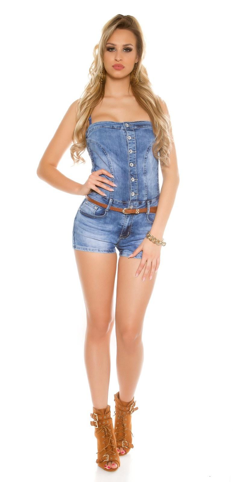 Sexy Jeans-Bandeau Jumpsuit with belt Jeansblue