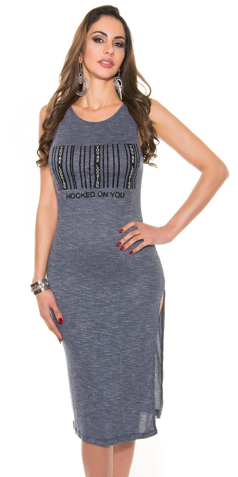 Trendy langshirt/jurk marineblauw
