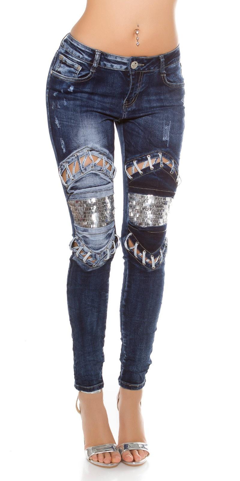 Sexy skinny jeans gebruikte used look met pailletten & veter jeansblauw